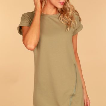 Short Sleeve Zipper Dress Light Olive