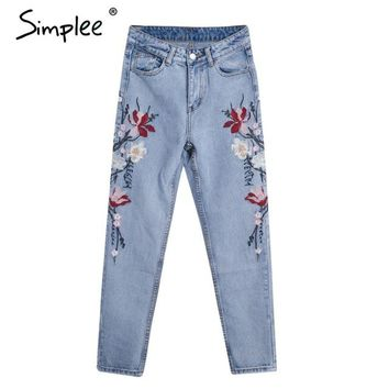 Aussie Coast Floral Embroidered Jeans, light blue