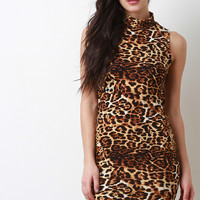 Leopard Mock Neck Strappy Open Back Dress