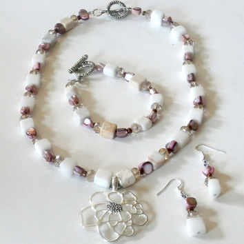 Handcrafted one-of-a-kind white and lilac pink jewelry set gemstones and swarovski crystal beads large silver flower pendant  toggle clasp