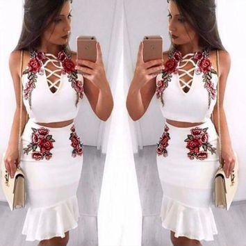 VONERE1 Sexy Fashion Straps Floral Embroidery Chest Lace Up Type Hollow Falbala Two Piece Dress