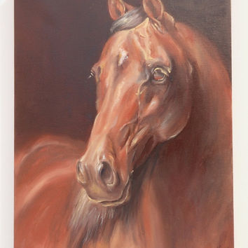 HORSE, Equestrian Art, ORIGINAL oil painting on canvas ready to hang, Horse head, Hand painted, Framed, Animal painting, Fine Art, Brown