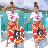 White Lifeguard Letter Print Printed Crop Top