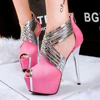 ankle strap pink heels platform sandals party shoes women blue heels sandals strappy heels women pumps high heels sandals D811