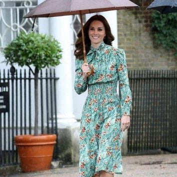 LMFLD1 princess kate middleton Green Poppy-print dress 2018 spring women dress long sleeve bow tie smocked waistband party dress