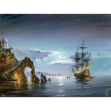 Sailing Boat at Night DIY Canvas Oil Painting By Numbers Kit - DIY Art Home Decor