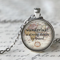 Wanderlust Necklace, Map Necklace, Gypsy Jewelry