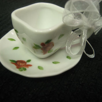 Cup and Saucer Red Roses,  Gift Finds Ornament Porcelain Ceramic Pottery, Hand Painted and Kiln Fired by B. Marsh  Gift Decorations