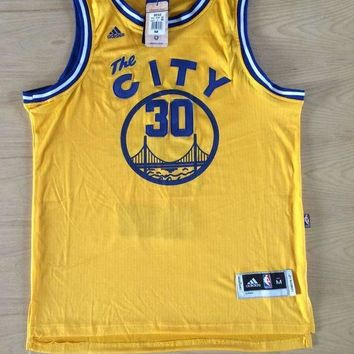 KUYOU Golden State Warriors Stephen Curry New fabric Retro Yellow Jersey