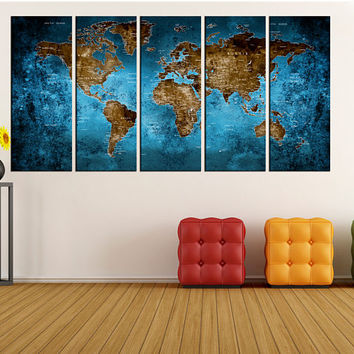blue world map Push pin wall art canvas print, extra large wall art, blue and brown abstract wall art, No:Hr1