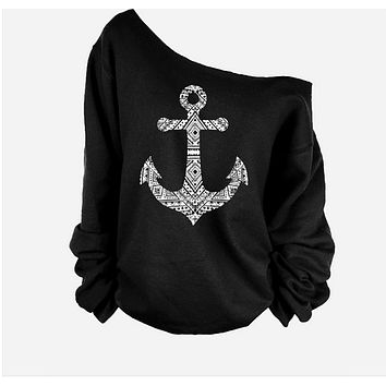 Fashion solid color anchor pattern T-shirt