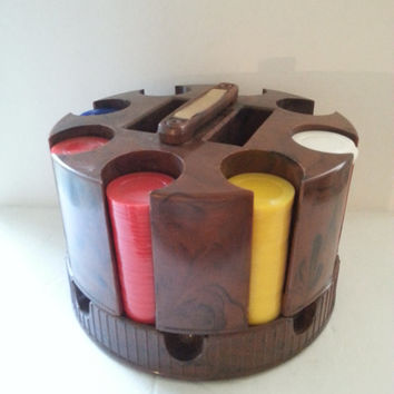 Vintage Mid Century Poker Chip Holder, Rotating Spinning Caddy, Retro Collectible Gambling Barware Man Cave Home Decor