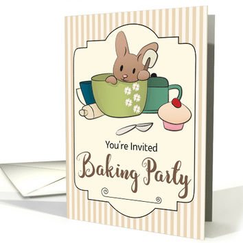 Invitation for a Baking Party with Bunny in Mixing Bowl card