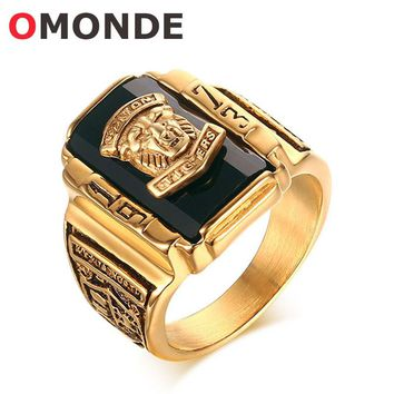 OMONDE Gold Color Stainless Steel Walton Tigers Head Ring