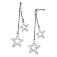 Sterling Silver Rhodium-plated Stars Dangle Post Earrings QE13068
