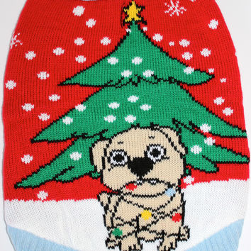 Dog Ugly Christmas Sweater - Dog Tangled with Christmas Lights
