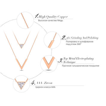 Viennois New Rose Gold Plated V-shaped Double Layers Chain Necklaces For Women Geometric Triangle Zi