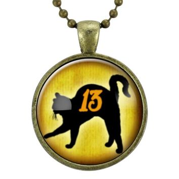 Friday The 13th Black Cat Necklace, Halloween Gifts, Goth Pendant Necklace