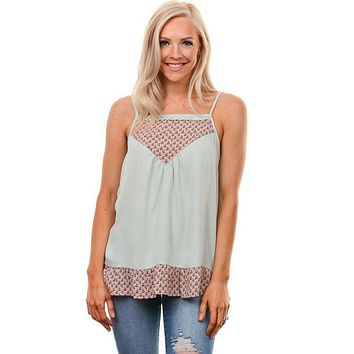 Sage Blush Floral Ruffle Contrast Tank