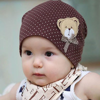 Casual Baby Hat Autumn Baby Beanie Dots Cartoon Bear Cotton Infant Cap Kids Clothing Accessories Newborn Cute Hat
