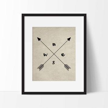 Vintage Tribal Compass Art Print - Wall Art - Office Decor - Typography - Home Decor