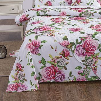 DaDa Bedding Romantic Roses Flat Bed Sheet Only - Lovely Spring Pink Floral Garden (JHW879-Flat)