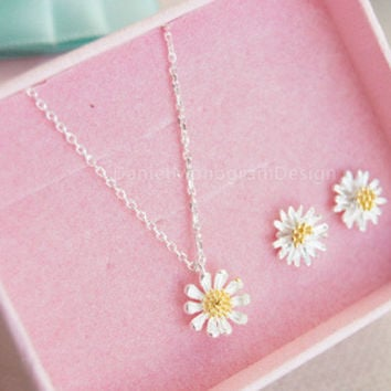 Little daisy necklace and earrings set,925 sterling silver daisy necklace and earring