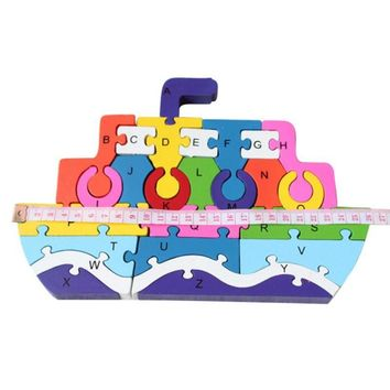 Fashion And Educational Baby Toys English alphabet Ship Puzzles Assembled Building Blocks Wooden Toys 3D Puzzle Toys