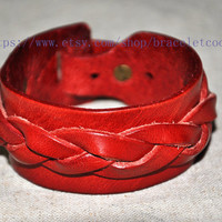 Real Soft Red Leather Women Leather Jewelry Bangle Cuff Bracelet Men Leather Bracelet, Cuff Bangle CP59