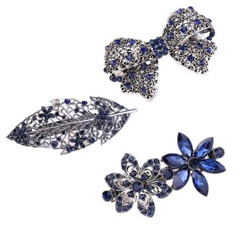 New Metal Black Crystal Rhinestone Oval Bowknot Barrettes Clips Clamp Hairpin Headwear Women Hair Accessories