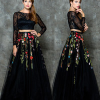 GLOW G681 Long Sleeved Two Piece Floral Mesh Prom Evening Dress