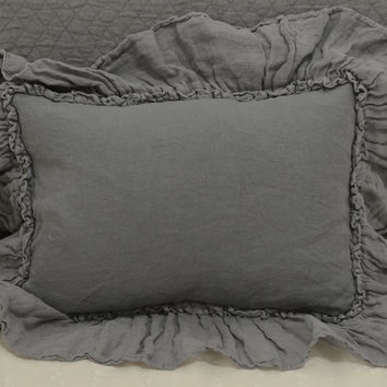 Linen Boudoir Throw Pillow with Linen Whisper Ruffle in FRENCH GREY