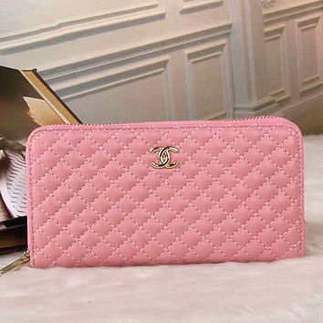 CHANEL  Women Shopping Leather plaid Hand bag(3 color ) Pink