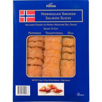 Foppen Norweigan Smoked Sliced Salmon Pepper, Dill, & Traditional slice