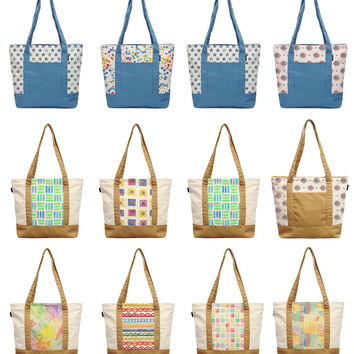Watercolor Seamless Patterns Printed Cotton Canvas Vintage Shoulder Bags WAS_13