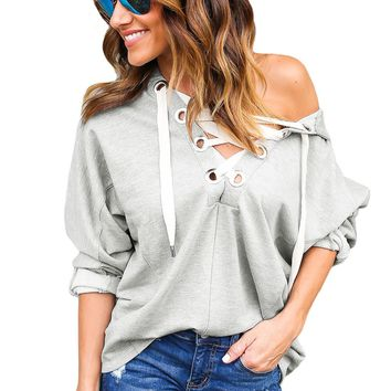 Grey Loose Fit Lace Up Hoodie