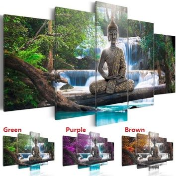 Unframed Seat Buddha Canvas Wall Art Print Modern Abstract Zen Art Painting Home Decoration(Color:Green,Yellow,Purple,Size:3)