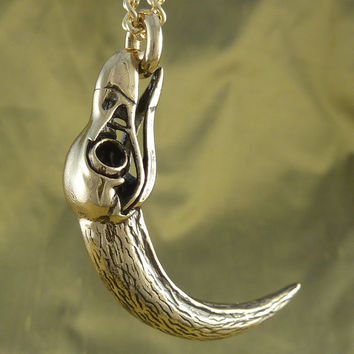 "Eagle Skull Necklace Eagle Skull and Talon Pendant Necklace - Bronze, on 24"" Gold Plated Chain"