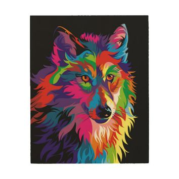 Colorful Wolf Wood Wall Art