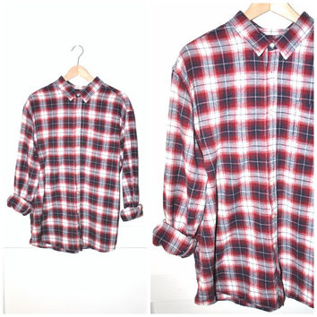 red plaid FLANNEL shirt vintage 80s 90s UNISEX grunge oversized NIRVANA plaid top os