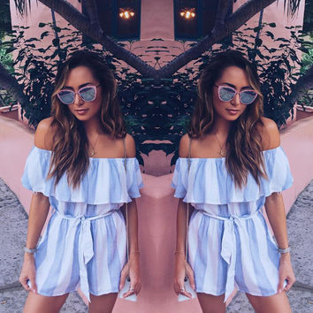 Summer Fashion Ruffled Off Shoulder Flounced Romper