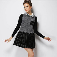 Block Patterned Embroidery Collar Knitted Dress