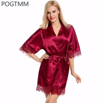 Wedding Dressing Gown - Women Short Satin Bride Robe