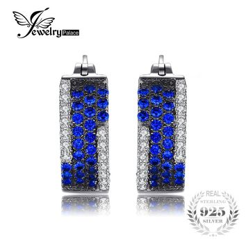 JewelryPalace 0.5ct Created Blue Spinel Cluster Cocktail Earrings 925 Sterling Silver Anniversary Gift 2017 New Jewelry