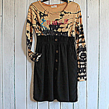 Upcycled Dress / Women's Babydoll Dress / Boho Funky Tie Dye / Junior's Clothing