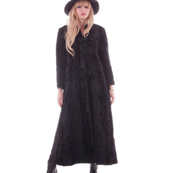 70s Vintage Faux Fur Full Length Coat Glossy Toggle Goth Witch Boho Romantic 1970s Vintage Clothing Womens Size Small Medium