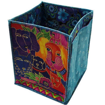 Handmade Table Top Organizer in Laurel Burch Doggie Fabrics