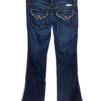 Frankie B Jeans Lace Contrast Blue Accent Waist Flap Snap Pockets Womens 4 - Preowned