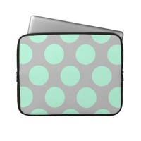 Polka Dots Mint and Gray Laptop Sleeve from Zazzle.com