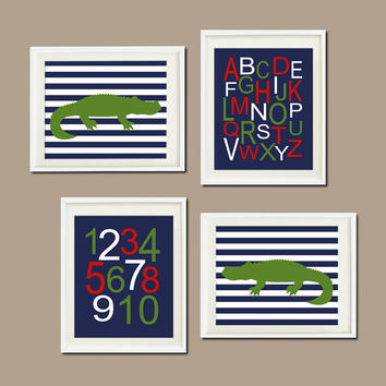 ALLIGATOR NURSERY ART Prints Alphabet Numbers Navy Hunter Orange Wall Art Set of 4 Prints Playroom Baby Alligator Decor Nursery Art Bedding